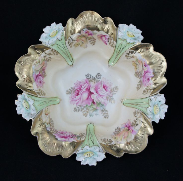 1800s RS Prussia Lily Mold Floral Centerpiece Bowl Heavy Gold Pink Roses