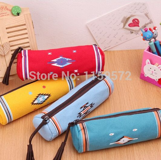 Free shipping Korea pencil case for school kids, Canvas material, lovely and creative pencil bag, 18*8cm, Drop shipping