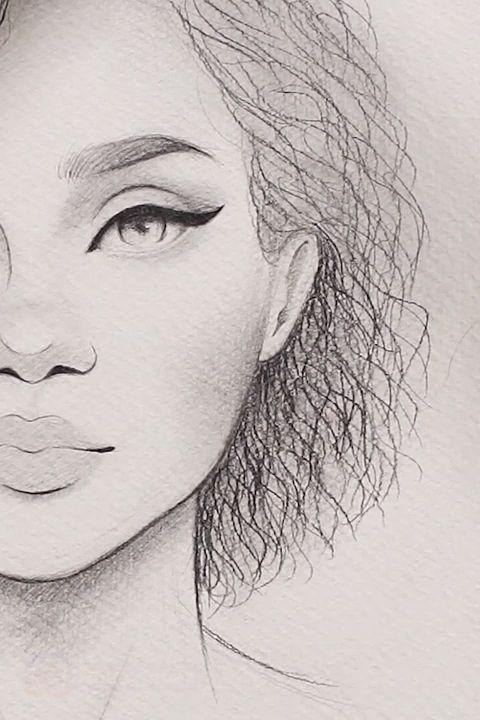 Zeichnen von lockigem Haar  – Zeichnung