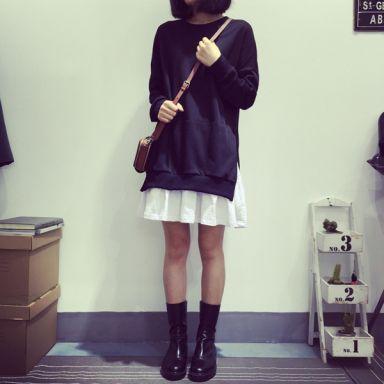 faux two piece dress| $6.17  ulzzang gyaru neogal harajuku grunge fachin dress top under10 under20 under30 asia fashion wholesale