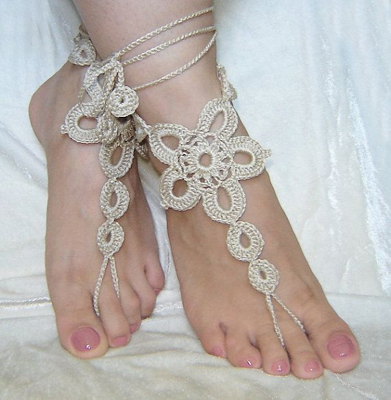 Light beige crochet  barefoot sandals. by agatsknitting on Etsy, $10.00