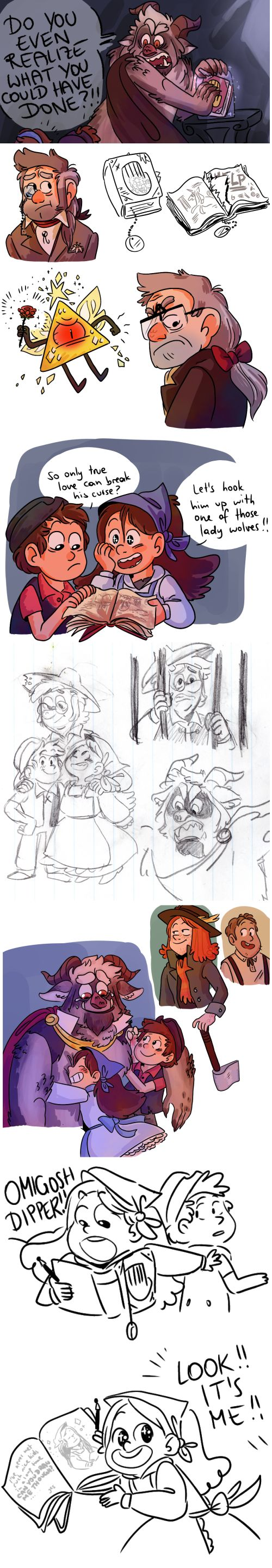 Gravity Falls Beauty and the Beast AU - art by cirilee.tumblr.com