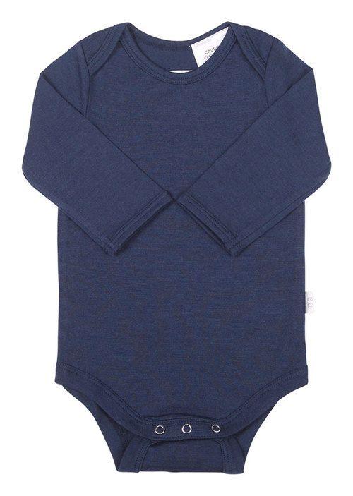 Babu - Navy Merino long-sleeved bodysuit