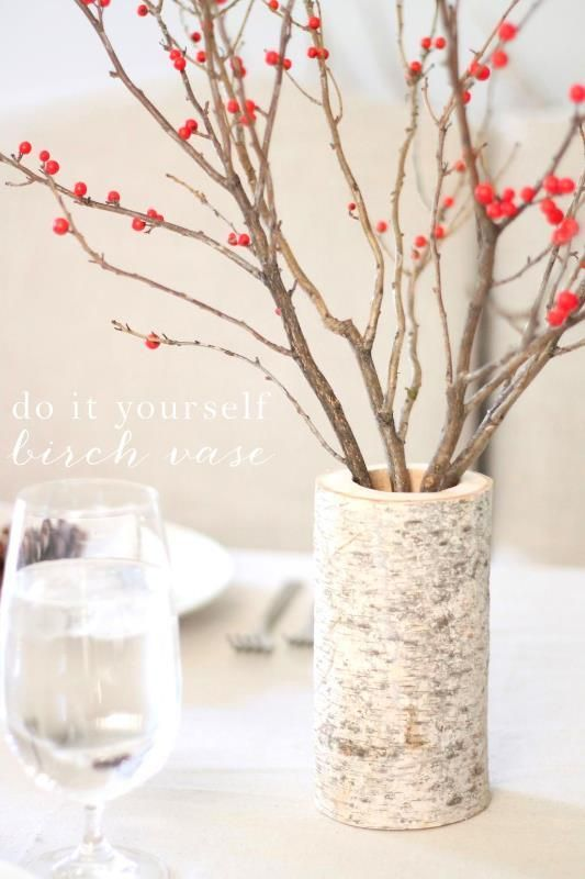 DIY birch vase. An simplistic holiday centerpiece.