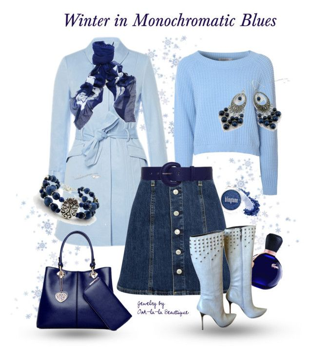 """Winter in Blue Outfit with Lapis Lazuli jewelry - Handmade Jewelry by Ooh-la-la Beadtique"" by ooh-la-la-beadtique ❤ liked on Polyvore featuring myface cosmetics, Faliero Sarti, Glamorous, Lacoste and Rock & Republic"