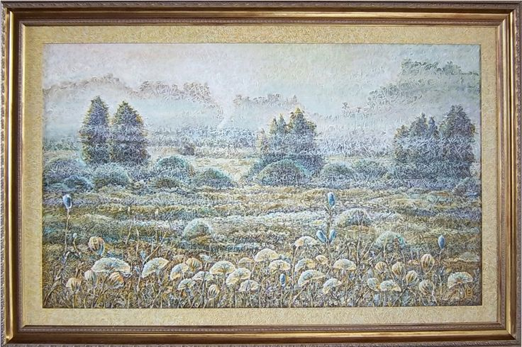 Field. 110-64 cm. Oil on canvas, special texture.