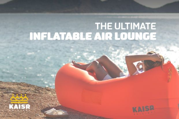 Currently trending gadgets: check them out! Here is an inflatable air lounge that you can take with you to the beach or anywhere else to relax. The KAISR can be used on sand, grass, and harder surfaces. As you can see in the above GIF, you don't need an external pump to get started. The
