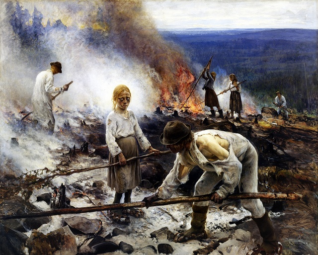 Eero Järnefelt, Burning the Brushwood, 1893. Ateneum Art Museum, Helsinki, Finland. National romantic art but considered realism art by public.