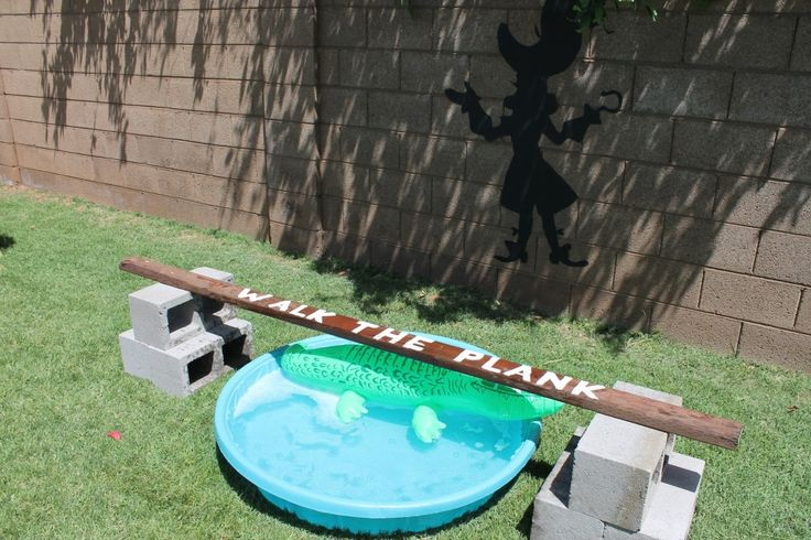 Peter Pan and Tinkerbell Party - kiddie pool and a blow up alligator