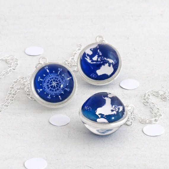 Compass Necklace Globe Necklace Wanderlust Necklace Compass