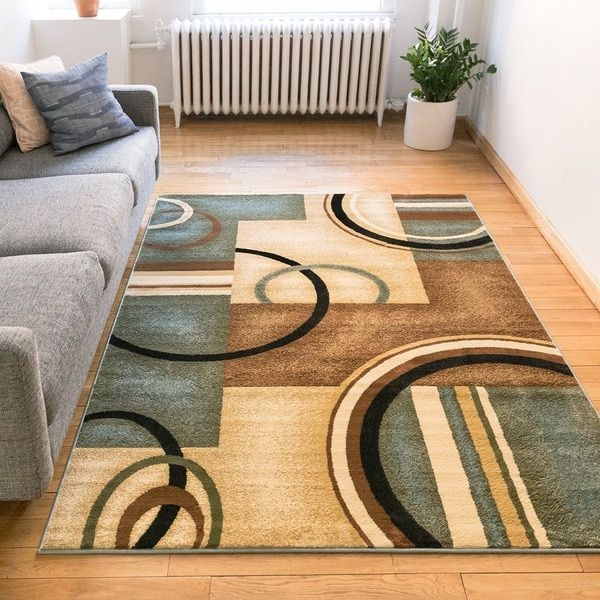 Generations Modern Geometric Circles Light Blue, Beige, Ivory, And Brown Area  Rug (. Living Dining RoomsDining ...
