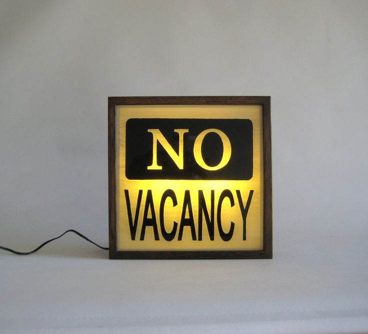 """Hand Painted Lighted Signs """"NO VACANCY"""" Vintage Wooden Lightbox Sign / Illuminated / Mid Century Modern / Home Motel Hotel Cafe Decor by Bingkai on Etsy https://www.etsy.com/ca/listing/234849836/hand-painted-lighted-signs-no-vacancy"""