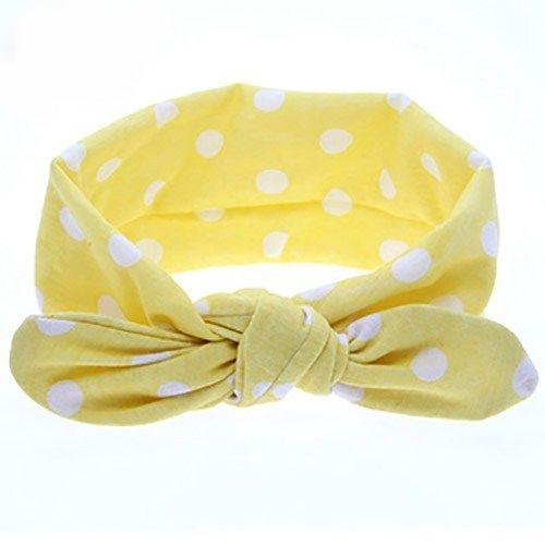 Κορδέλα μαλλιών κίτρινη με άσπρες βούλες
