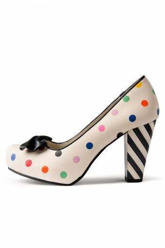 Lola Ramona 50s Angie Bow Polka Multi Dots plateau pumps  € 149,95