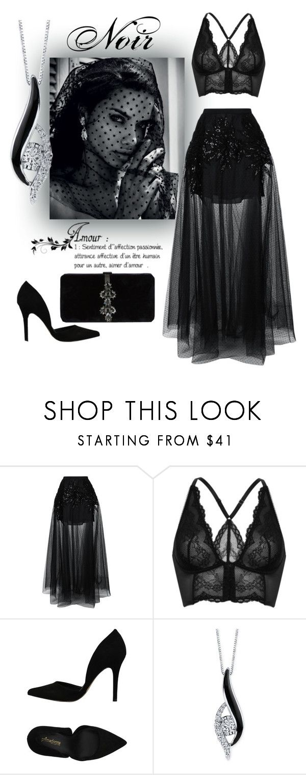 """""""Noir"""" by jmariaz ❤ liked on Polyvore featuring Elie Saab, Gossard, PrimaDonna, Sirena and Dsquared2"""
