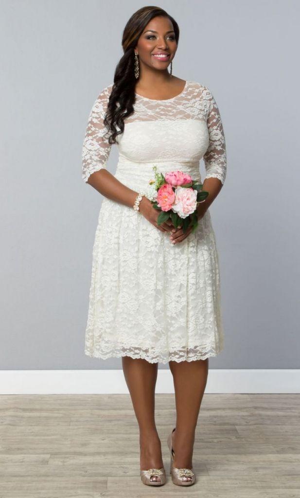 Simple Simple Wedding Dresses Gorgeous Short Plus Size Summer Wedding Dresses Beautifully simple short lace plus size summer wedding dress with three quarter