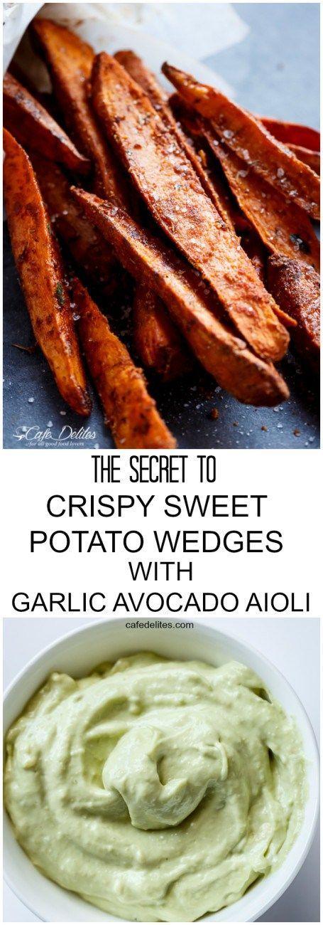 The Secret To Crispy Sweet Potato Wedges with Garlic Avocado Aioli   http://cafedelites.com