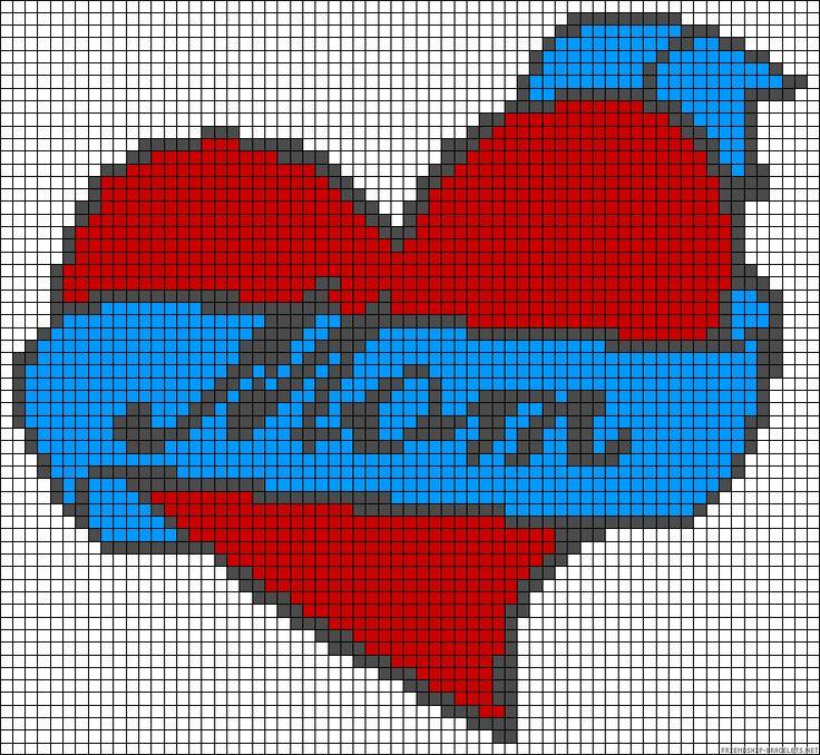 Heart mom love perler bead pattern