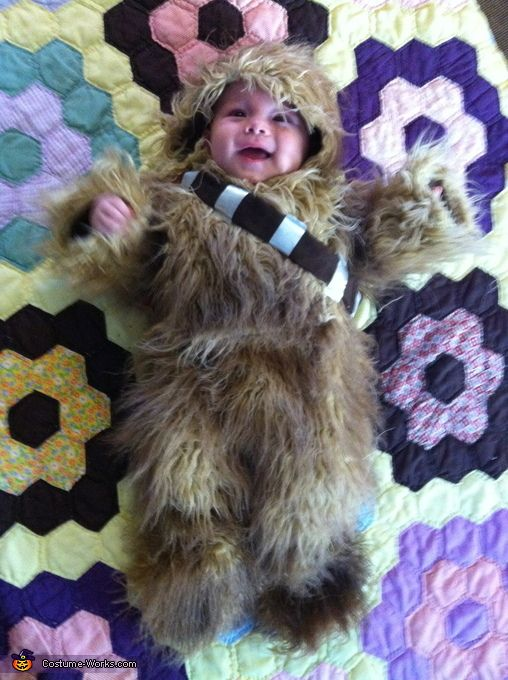 """""""Homemade Chewbacca Baby Costume"""" Great way to keep baby warm on a cold Halloween."""