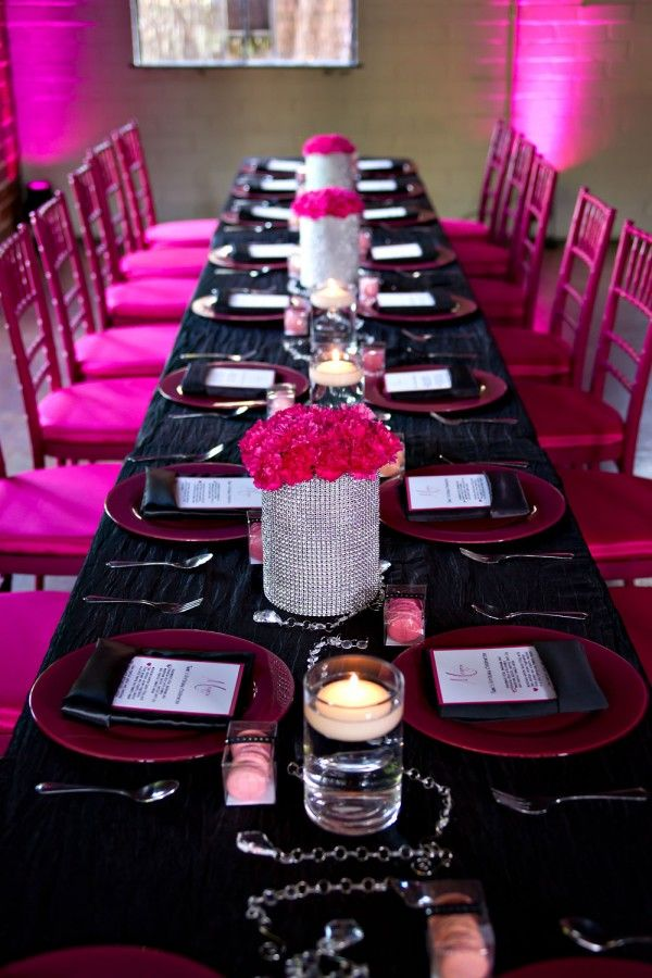 Glamourous Hot Pink Birthday Party from Sophia Barrett Studios by ellyB Events | Occasions Magazine