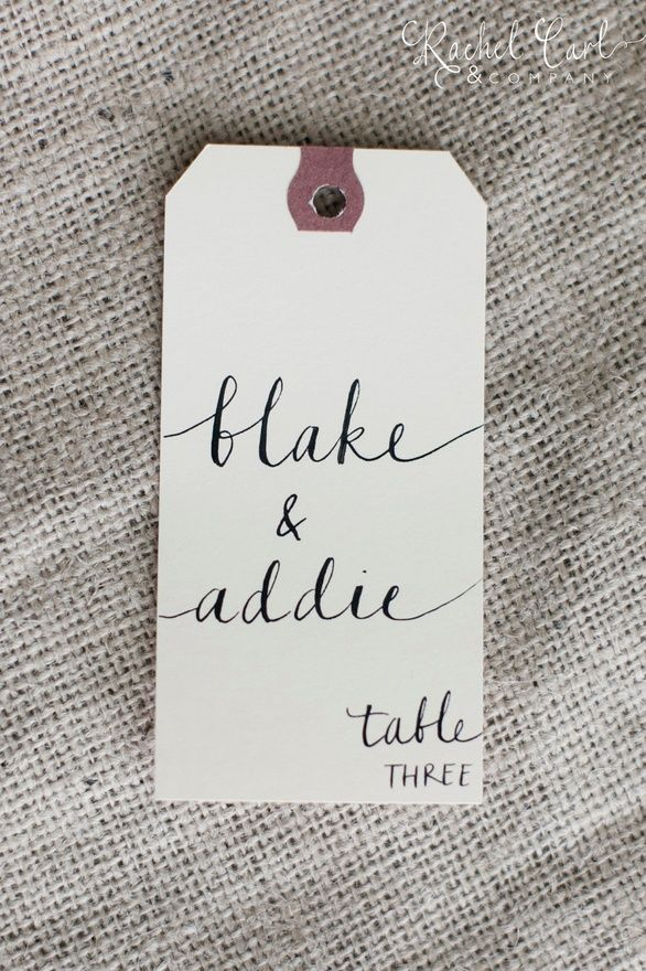 Wedding Name Place, Table, or Escort Cards, Shabby Chic Wedding, Manilla Vintage Tags with Lowercase Font. $1.25, via Etsy.