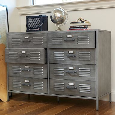 "Locker Dresser, 47.5"" wide x 18.75"" deep x 34"" high, Crafted of iron with a hand-applied galvanized finish, Eight deep drawers provide generous storage space"