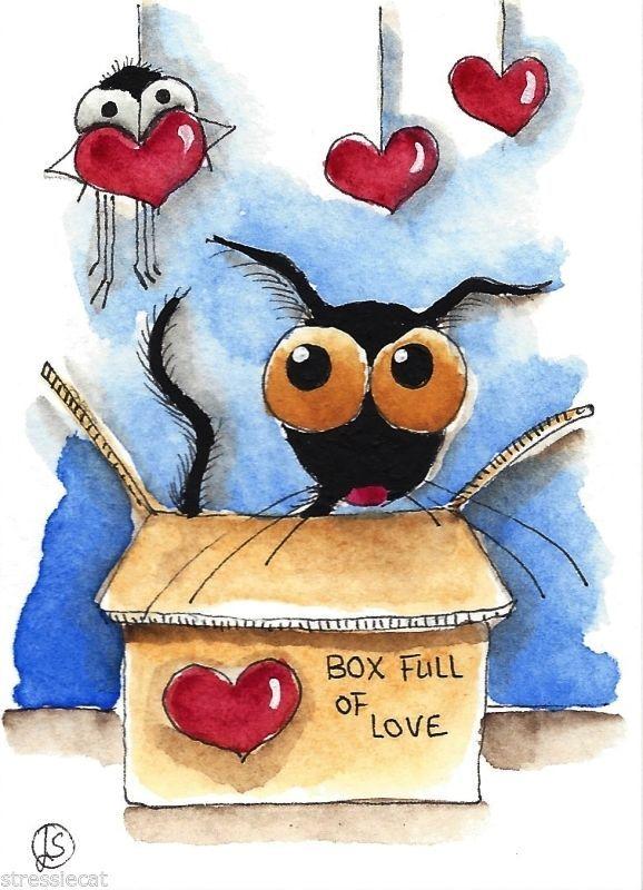 ACEO Original watercolor Folk Art Stressie Cat love heart Valentine box spider