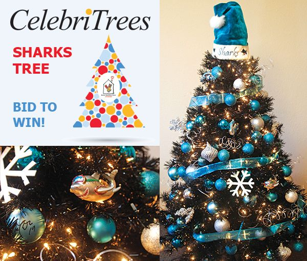 The CelebriTree auction is ON. Bid on the San Jose Sharks Tree here: http://trees.myab.co/  Your holiday hat-trick has arrived. Designed for anyone who loves the San Jose Sharks, the holidays and of course, Ronald McDonald House at Stanford, this 5' tree is trimmed with Shark-le spirit (that's Sharks spirit with lots of sparkle). Tree includes teal and silver ornaments signed by members of the 2015-16 team and mascot S.J. Sharkie and loads of team extras!