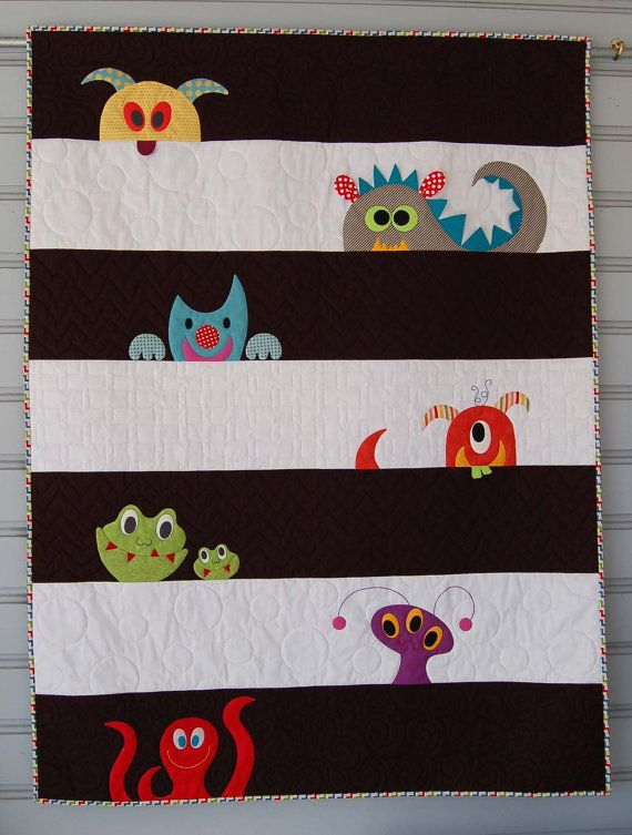 M is for Monster Quilt Pattern in PDF for Digital Download - so cute! love how each stripe is quilted in a different pattern