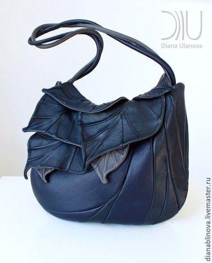 """Женские сумки ручной работы. Ярмарка Мастеров - ручная работа. Купить в наличии """"Листья макси"""" темно-синяя. Handmade. Разноцветный"""