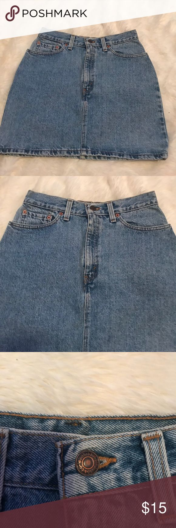 Levi's highwaisted denim skirt size 9 Denim high waisted skirt size 9 W. In great condition , only missing the Levi's logo on the back as shown in picture . Since it's missing the back , that's why the price is set at . Super cute and very stylish for this up coming season Levi's Skirts Mini