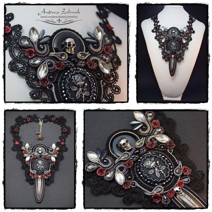 """""""Silver Rose"""" - Soutache gothic necklace - Andrea Zelenak"""