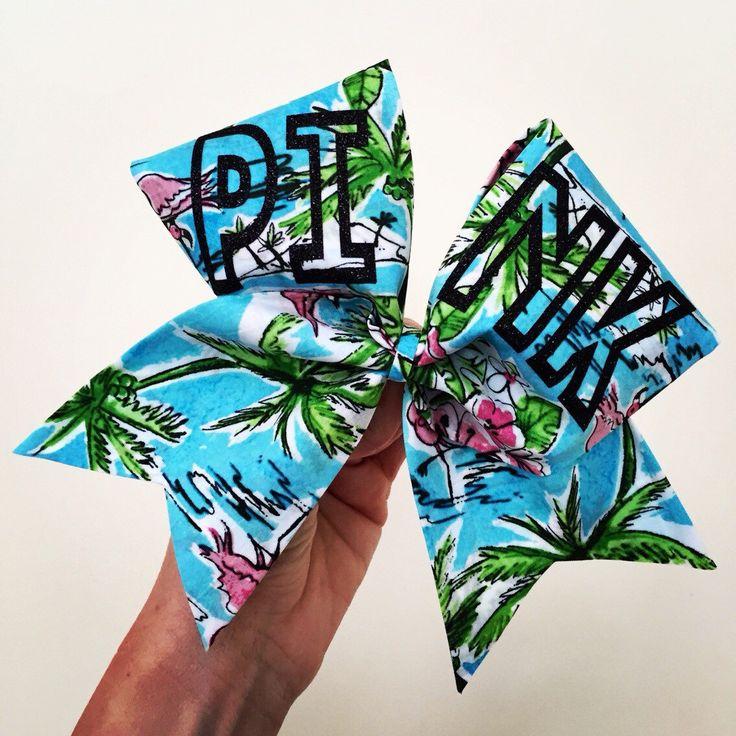 PINK Hawaiian Tropical Print Cheer Bow palm tree  by TalkToTheBow on Etsy (null)