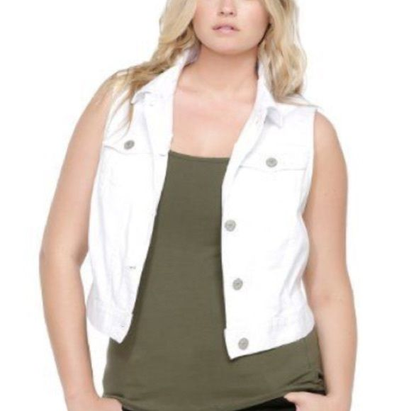 Torrid White Jean Vest Brand new with tags, size 1. torrid Jackets & Coats Vests