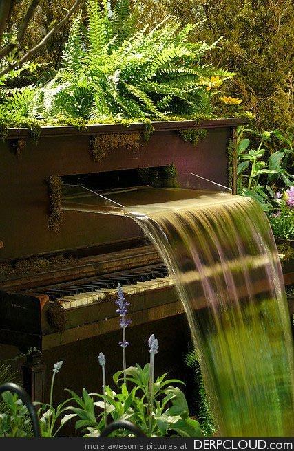piano waterfallMusic, Ideas, The Piano, Water Features, Fountain, Gardens, Old Pianos, Piano Waterfal, Backyards