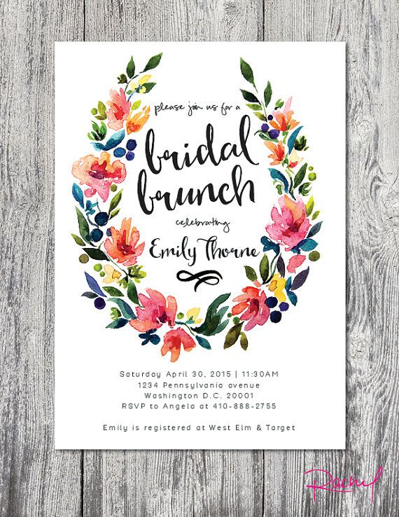 Looking for the perfect floral invitation for your bridal brunch? This custom made invitation is just what you need for the event! Features a