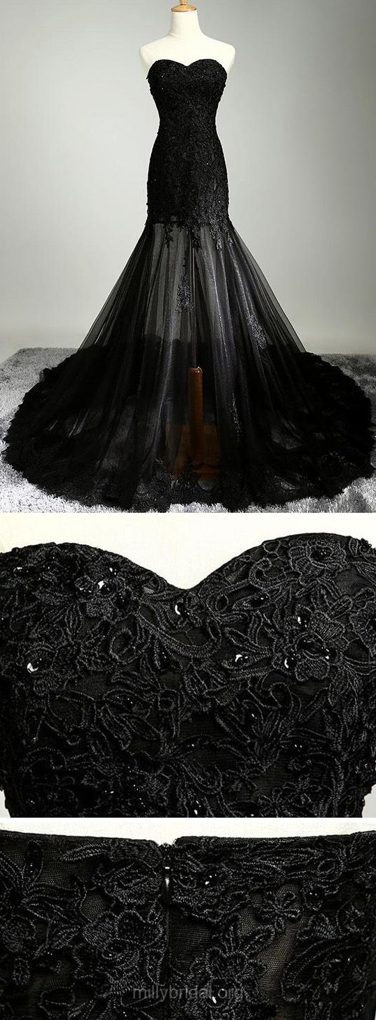 Sweetheart neckline black strapless lace embroidery sequin mesh transparent mermaid elegant dress