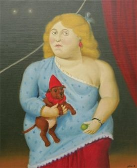 """ Circus woman with dog"" By Fernando Botero ,2008"