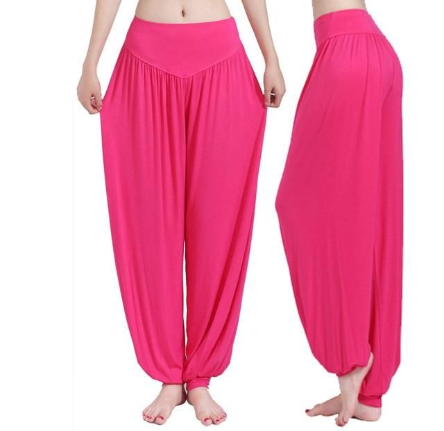 Yoga Pants Women Plus Size Bloomers Dance Yoga Taichi Full Length Pants Smooth No Shrink Antistatic Pants 3Xl rose XL