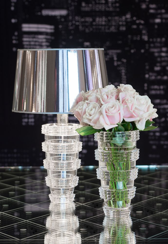 Large clear crystal vase with a modernist