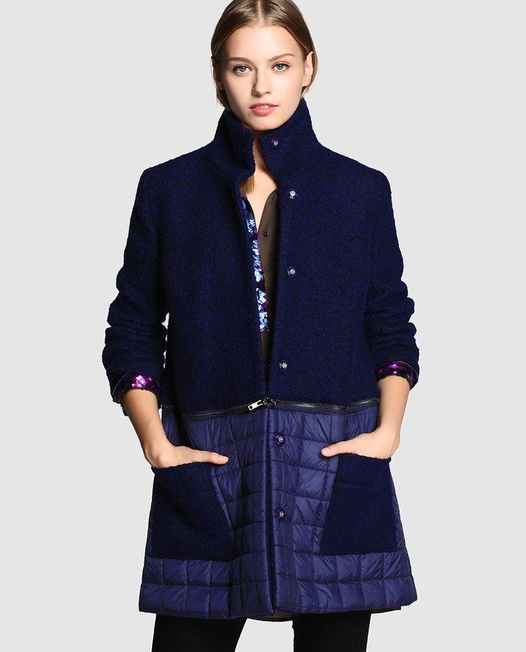 Abrigo de mujer Jota+ge de paño convertible a chaqueta con cremallera