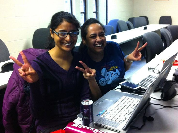 Girls having fun at the Stony Brook University's International Women's Hackathon!