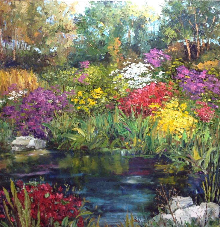 """Hidden Water Garden"", 2015; by J. Guess Oil on Canvas 48""wide x 36""high Available through Filsinger Fine Art, Palm Desert, CA"