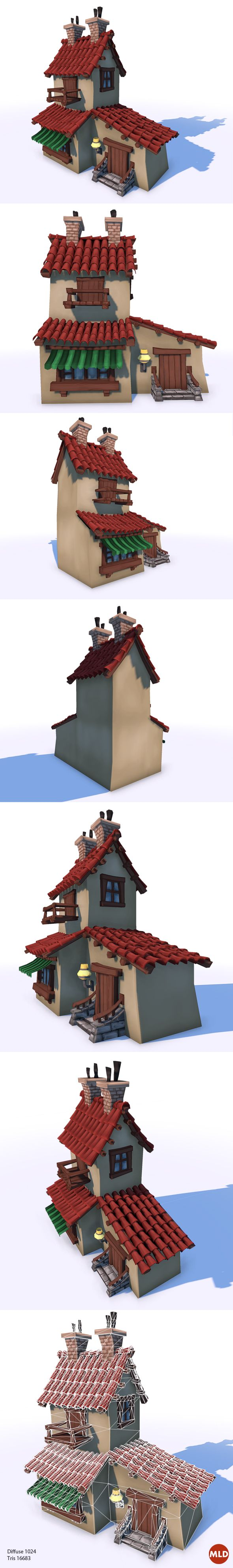 Cartoon style Low Poly house model with Hand-Paint texture.