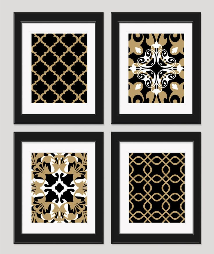 Bedroom Wall Decor Black And White : Black white gold art wall set of by