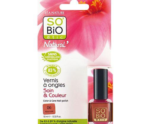 """SO' BIO ÉTIC- Esmalte de Uñas Rose Nude 10 ml.  Esmalte de uñas Rose Nude de SO' BIO ÉTIC, formulados con ingredientes de origen natural y vegetal. Fórmula """"7 Free"""", sin parabenos, sin formaldehido, sin ftalatos, sin touleno, sin xileno. Sin alcanfor sintético, sin colofonia…Sin comprometer el color, el brillo, la resistencia y el secado, los esmaltes de uñas de SO' BIO ÉTIC alían la intensidad del color con la eficacia del cuidado. Enriquecidos en aceite de ricino biológico, magnifican la…"""