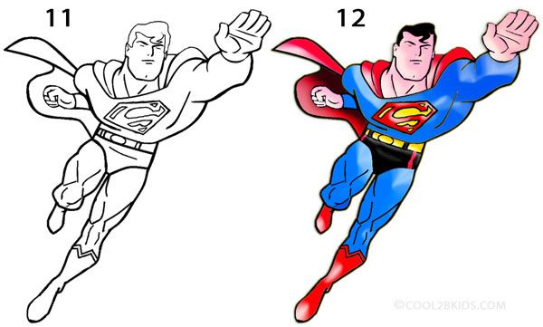 How To Draw Superman Step 6 Superman Drawing Superman Coloring Pages Superman