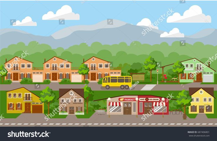 Small cottage area. Summer landscape, vector illustration for children's book, or web site, or other presentation products