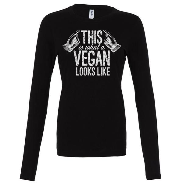 What a vegan looks like long sleeve vegan shirt for women. Looking for more vegan clothing? Shop more vegan shirts at The Dharma Store.