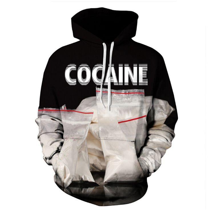 Mr.1991INC TopBrand Fashion STATION 3D Hooded Print Man Woman Hoodies COCAINE Fashion Club Hoodies Pullover Sweatshirts